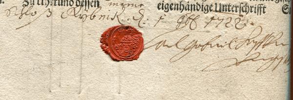 Odcisk pieczęci Karola Gabriela Węgierskiego zpodpisem.